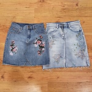 Embroidered Floral Mini Skirts Bundle